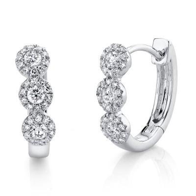 0.37ct 14k White Gold Diamond Huggie Earring