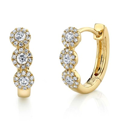 0.37ct 14k Yellow Gold Diamond Huggie Earring