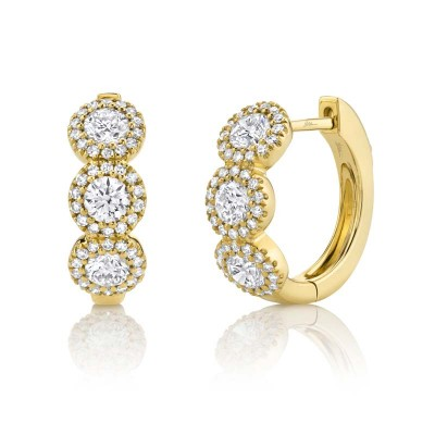 1.10ct 14k Yellow Gold Diamond Huggie Earring