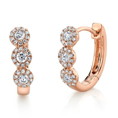 0.37ct 14k Rose Gold Diamond Huggie Earring