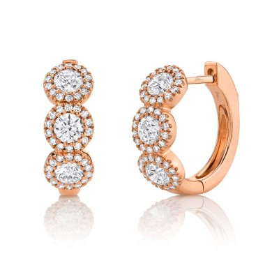 1.10ct 14k Rose Gold Diamond Huggie Earring