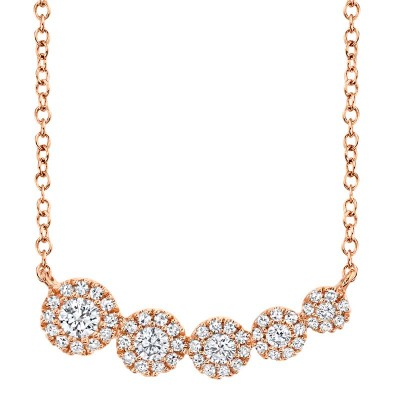 0.32ct 14k Rose Gold Diamond Necklace