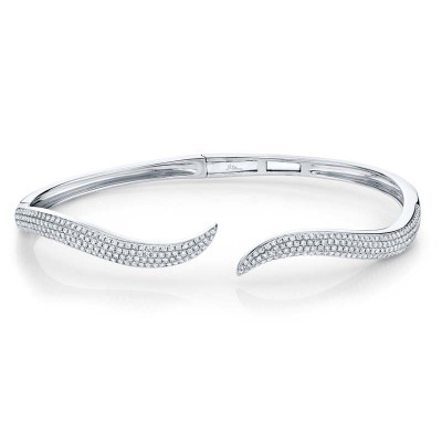 0.84ct 14k White Gold Diamond Pave Bangle