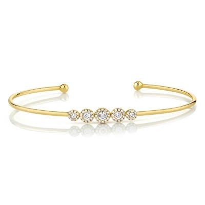 0.37ct 14k Yellow Gold Diamond Bangle