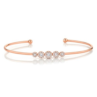0.37ct 14k Rose Gold Diamond Bangle
