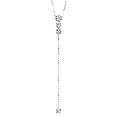 0.29ct 14k White Gold Diamond Lariat Necklace