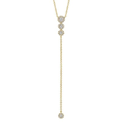 0.29ct 14k Yellow Gold Diamond Lariat Necklace