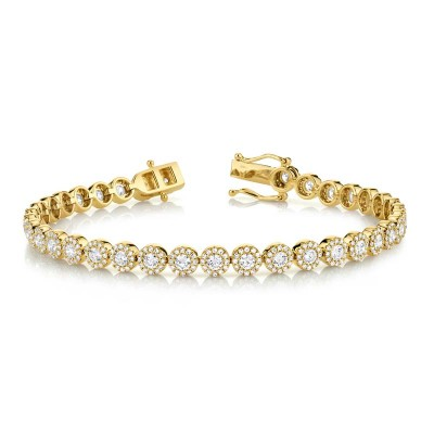 3.79ct 14k Yellow Gold Diamond Lady's Bracelet