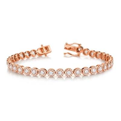 3.79ct 14k Rose Gold Diamond Lady's Bracelet