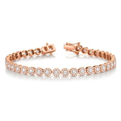 3.03ct 14k Rose Gold Diamond Lady's Bracelet