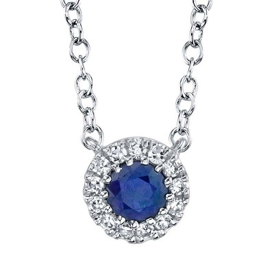 0.04ct Diamond & 0.14ct Blue Sapphire 14k White Gold Diamond Necklace