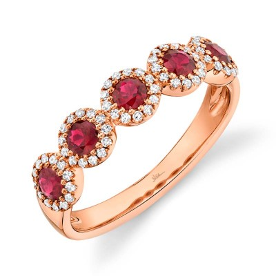 0.20ct Diamond & 0.66ct Ruby 14k Rose Gold Band
