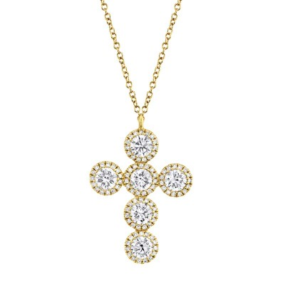1.42ct 14k Yellow Gold Diamond Cross Necklace