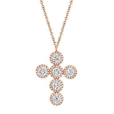 1.42ct 14k Rose Gold Diamond Cross Necklace