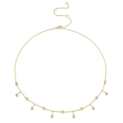 0.34ct 14k Yellow Gold Diamond Shaker Necklace
