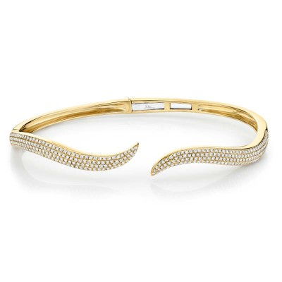 0.84ct 14k Yellow Gold Diamond Pave Bangle
