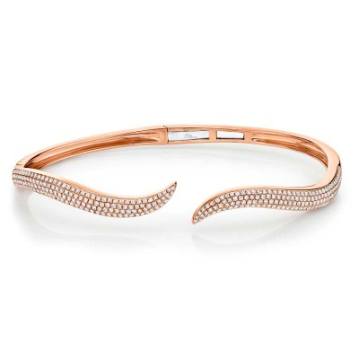0.84ct 14k Rose Gold Diamond Pave Bangle