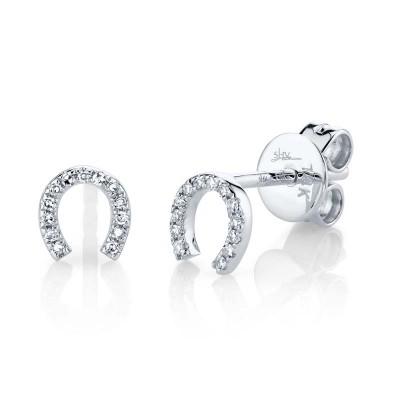 0.06ct 14k White Gold Diamond Horseshoe Stud Earring