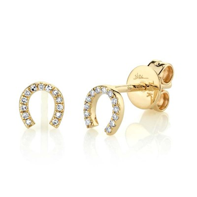 0.06ct 14k Yellow Gold Diamond Horseshoe Stud Earring