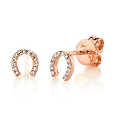 0.06ct 14k Rose Gold Diamond Horseshoe Stud Earring