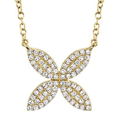 0.20ct 14k Yellow Gold Diamond Flower Necklace