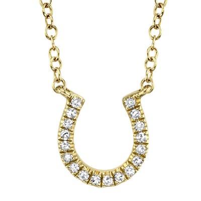 0.06ct 14k Yellow Gold Diamond Horseshoe Necklace