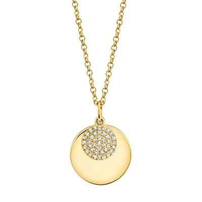 0.09ct 14k Yellow Gold Diamond Circle Necklace