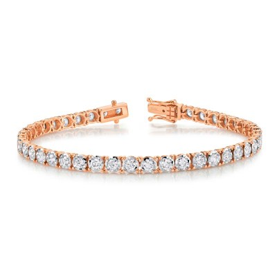 3.00ct 14k Rose Gold Diamond Lady's Bracelet