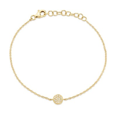 0.05ct 14k Yellow Gold Diamond Pave Circle Bracelet