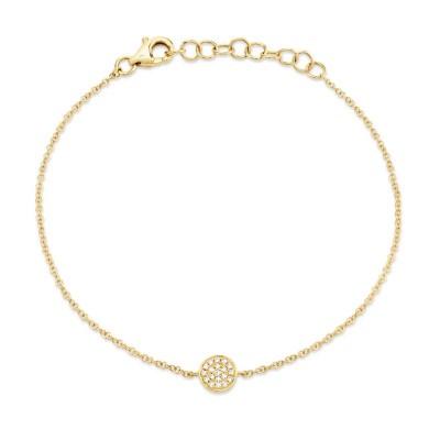0.05ct 14k Yellow Gold Diamond Pave Circle Bracelet