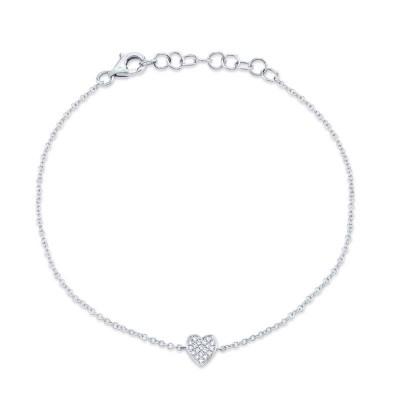 0.04ct 14k White Gold Diamond Pave Heart Bracelet