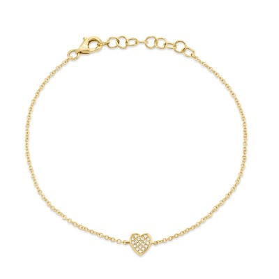 0.04ct 14k Yellow Gold Diamond Pave Heart Bracelet