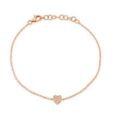 0.04ct 14k Rose Gold Diamond Pave Heart Bracelet