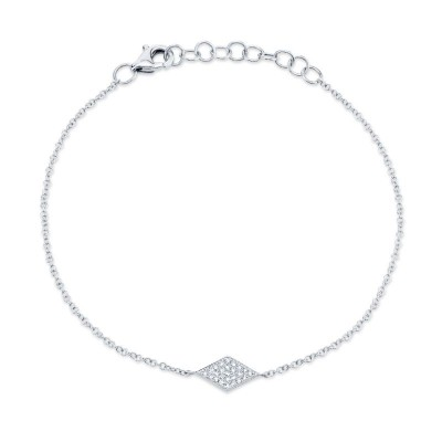 0.06ct 14k White Gold Diamond Pave Diamond Bracelet