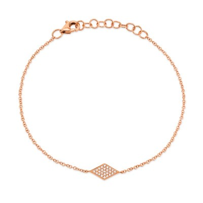 0.06ct 14k Rose Gold Diamond Pave Diamond Bracelet