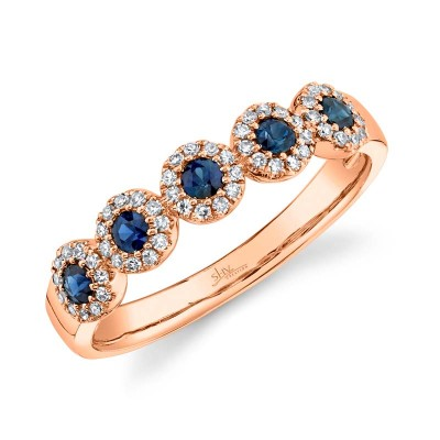0.16ct Diamond & 0.31ct Blue Sapphire 14k Rose Gold Lady's Band