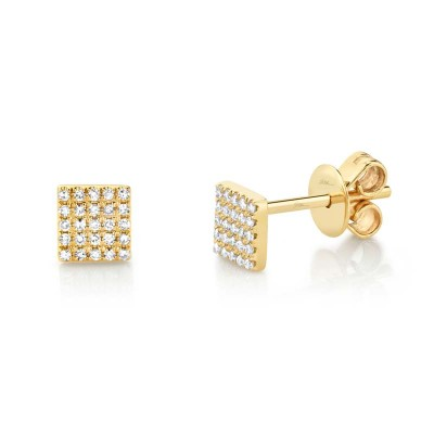 0.11ct 14k Yellow Gold Diamond Pave Square Stud Earring