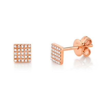 0.11ct 14k Rose Gold Diamond Pave Square Stud Earring