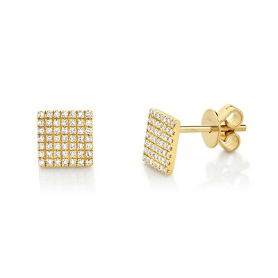0.22ct 14k Yellow Gold Diamond Pave Square Stud Earring
