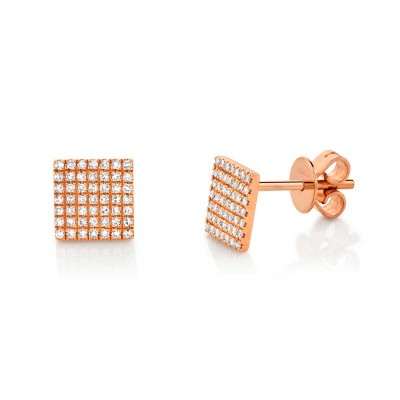 0.22ct 14k Rose Gold Diamond Pave Square Stud Earring