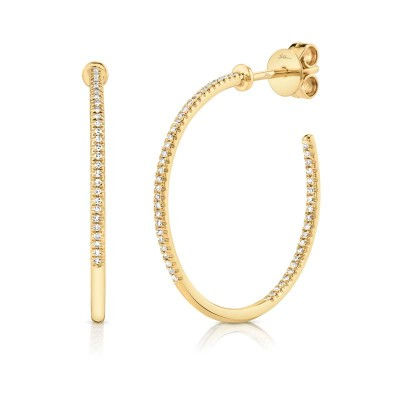 0.19ct 14k Yellow Gold Diamond Hoop Earring