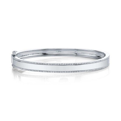 0.47ct 14k White Gold Diamond ID Bangle