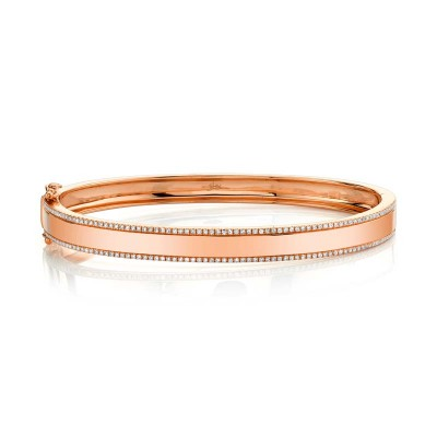 0.47ct 14k Rose Gold Diamond ID Bangle