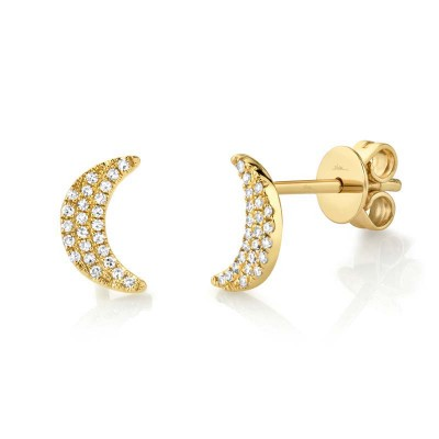 0.11ct 14k Yellow Gold Crescent Moon Stud Earring