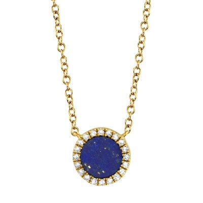 0.04ct Diamond & 0.33ct Lapis 14k Yellow Gold Necklace