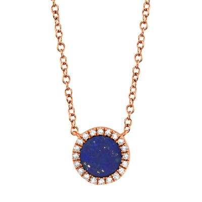 0.04ct Diamond & 0.33ct Lapis 14k Rose Gold Necklace
