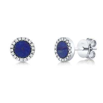 0.08ct Diamond & 0.51ct Lapis 14k White Gold Stud Earring