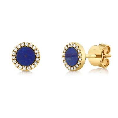 0.08ct Diamond & 0.51ct Lapis 14k Yellow Gold Stud Earring
