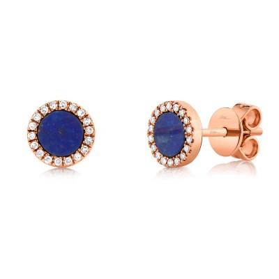0.08ct Diamond & 0.51ct Lapis 14k Rose Gold Stud Earring