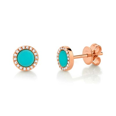 0.08ct Diamond & 0.47ct Composite Turquoise 14k Rose Gold Stud Earring